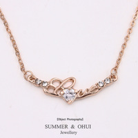 18K Rose Gold Plated with CZ stone love Letter Necklace