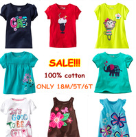 Retail Brand New 100%Cotton Kids Clothes Child Blouse tshirts Clothing Summer Baby Girls T-shirts Top casual dress christmas