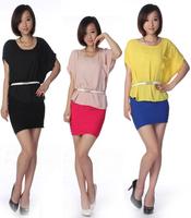2014 big yards short sleeves Loose blouse Batwing coat head shirt for women free shiping