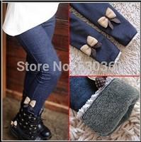 New 2014 girls bow jeans cotton children cashmere pants kids warm elastic waist legging wholesale and retail