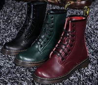 Luxury British Style Genuine Leather Motorcycle Martens Ankle Boots For Men Winter 2014 Designer Flat Knight Shoes Women