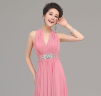 Sexy halter-neck V-neck bridal evening dress long design evening dress full dress gorgeous belt 921