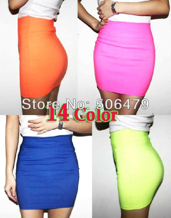 High Quality 2014 New Womens vogue mini skirts candy color A line Stretch club wear skrits pencil skirt neon saias femininas HOT(China (Mainland))