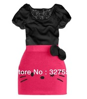 Big discount 1 set Retail ! !New Arrive children clothing Hello kitty girl's set  2pcs baby short sleeve suitGQT186