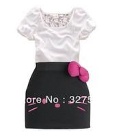 1 set Retail !Free shipping !New Arrive children clothing Hello kitty girl's set t-shirt+skirt 2pcs baby short sleeve suitGQT186