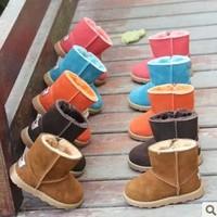 Free Shipping! 2014 Fashion Brand Baby boy&girls Children's Winter Warm Genuine leather Snow Cotton Boots W101