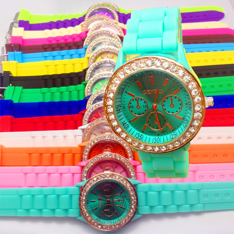 2013 Hot New Fashion 15color choices geneva Lady Crystal Silicone Watch Jelly watch for women wedding quartz women dress watches(China (Mainland))