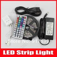 Flexible RGB LED Strip Light Lamps 5050 SMD No Waterproof 5m 300 leds 60led/m 12V DC + 44keys IR Remote Control + 12V 6A Adapter