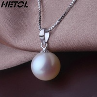 Free Shipping Is round to the 9-10-11 natural freshwater pearl pendant, 18 k platinum 925 sterling silver chain