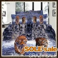 100% Cotton 3D Bedding Sets Queen/King Comforter/Quilt/Duvet Cover Set Rose(Tigers, Horses, Swan) 3D Bedding OVER 100 Patterns