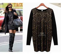 Plus Size XXXXL Women Vintage Lace Dresses Winter Dress Hollow Out Long Sleeve Black Print Dresses Women Casual Dress
