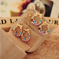 0492 Min. order $10 (mix order) Free shipping New arrival bowknot colorful shining crystal stud earrings for women