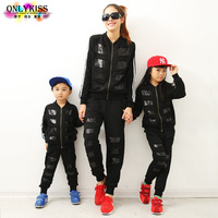 2014 Spring new children's clothing brand kids fashion sequin sweatshirts + Hip Hop Family fitted trousers, girls, boys and mom