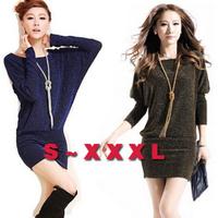 New 2014 Women autumn winter dress Long Sleeved knitted dresses Loose plus size Bat Sleeve casual dress vestidos XXL