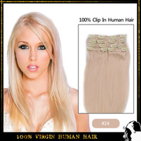 "Best selling 16"" 18"" 20"" 22""  70g 80g 100g  Remy human hair Clip in hair extension Color #24 Medium blonde free shipping"