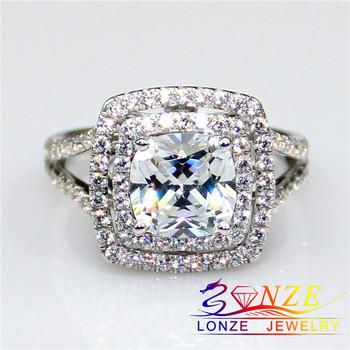 2 Carat NSCD Diamond Monique Lhuillier Princess Cut Double Halo Engagement Ring Square ...