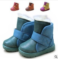 2013 Winter Child Snow Boots Boys Girls Thickening Thermal Cotton-padded Shoes High Boots Velcro Flat With Slip On Shoes