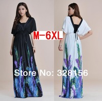 2014 V-Neck Feather floral Printing Long/maxi Summer Women Dress Casual dress Plus Size M-6XL White, Black Free Shipping