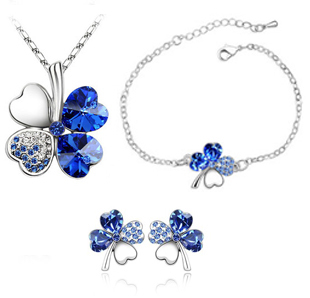 Fashion 18K gold plated austrian crystal Accessories crystal sweet four leaf grass necklace/earrings/bracelet set jewelry set(China (Mainland))