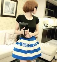 2013 autumn fashion high quality stripe high waist bust skirt black and white blue and white