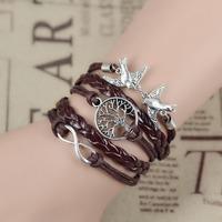 Handmade Loving Birds Charm Bracelet, in White-Wax Cords and Local tyrants gold Leather,Love Bike pendant silver bracelets