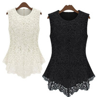 Free Shipping 2014 New Women's Sleeveless Crew Collar Lace Peplum Blouse Top Vest Shirts #1588