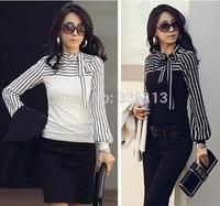 Sizes S-4XL 2014 Hot Sale Zanzea Fashion OL Women Ladies Stripe Lantern Long Sleeve Turtleneck Shirts Blouses Black/White