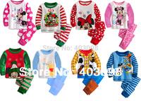 kids cartoon pajamas baby sleeping suit 8 designs size in 80-120 children's long sleeve pajamas mickey minnie design