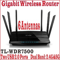 6/six Antennas TP-LINK TL WDR7500 Wireless Router AC 1750 Dual Band Gigabit TL-WDR7500 1750Mbps 802.11ac big house free shipping