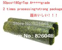 50pcs/pack,180g Factory wholesale cheap top A+++++ quality Seaweed,nori for sushi Seaweed nori sushi , top selling seaweed sushi