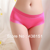 4 pcs/lot Seamless panties modal mid waist women's boxer panties transparent lace sexy panties female 100% cotton