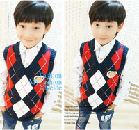 New Spring and Autumn Children Boys Knitted Vest Plaid Knitted Vest Boys Waistcoats Cotton Child Outerwear for 2--9 years