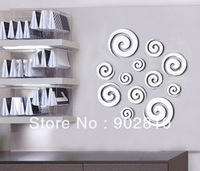 [listed in stock]-12 pcs/lot Europe Style Creative round Swirls Silver Mirror Ps Plastic wall decal decoration