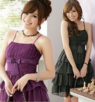 F~3XL!! 3 Colors New Ladies Sexy Cute Fashion Plus Size Bow Ruffles Knee-length Slim Evening Party Prinecess Chiffon Dresses