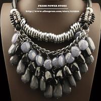 Bijuterias Black Gothic Vitage Jewelry Big Chunky Silver Chain Statement Leather Acrylic Tassel Choker Necklace for Women Girl