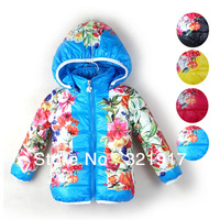 New Arrival Free Shipping 4pcs/lot Fashion Cotton Baby Girl Winter Outerwear Kids Overcoat Kids Winter Costumes 7Colors
