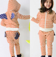 Free Shipping 2013 new autumn-summer beautiful Angel Wings Cotton Stripe Baby girls children clothing sets wholesale A1
