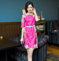 New Fashion 3 color 2013 Women's Sexy Print lace Hollow Embroidered girls' dresses Mini Dress with Belt Free Shipping C240