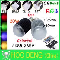 20W RGB E27 16 Colors LED Light Bulb Lamp Spotlight 85-265V + IR Remote Control free shipping