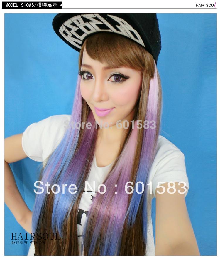 Colorful Rainbow Ombre Hair Rainbow Grizzy Hair Extension Clip in Hair Extensions Ombre Hair