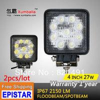 "Free Shipping 2pcs/lot 4"" 27W  LED Work Light led epistar flood 27w led tractor light atv led off road light 4x4 for Motorcycle"