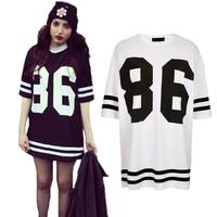New 2014 Celebrity Baseball Mini Dress Oversized 86 Tops Loose Fit Tee T-shirt Black/White Women Summer Casual Dress Plus Size