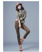 Winter women's low-waist water wash distrressed leopard print skinny jeans,skinny pants, S,M,L