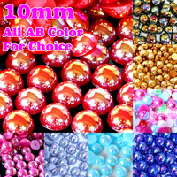Free shipping ! AB Color 300pcs/bag 10mm  Imitation Half Round Flatback Pearls For DIY Fashion Decoration,Nail Art
