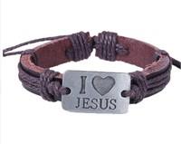Dropshipping 2014 new fashion men jewelry unisex leather bracelet I love jesus alloy bracelets & bangles  W1001 Wholesale