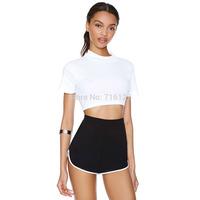 FREE SHIPPING 2014 summer new women trousers high waist College sports retro white trim black elastic waist Slim shorts XS-XXL