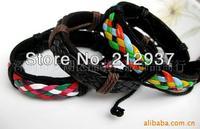 Hot selling colorful leather bracelet women adjustable handmade bangles in promotion KL0016