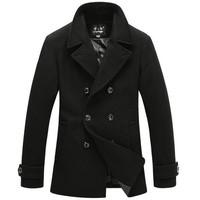 British Style Trench Coat Men Long Double Breasted Men's Woolen Jackets Brand Designed Outdoors Wool Pea Coats Overcoat Black