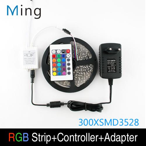 5m 300 3528 led rgb que cambia de color resistente al agua no fleixble tiras conjunto + 24 teclas de mando a distancia ir + 12v 2a 24w adaptador de corriente