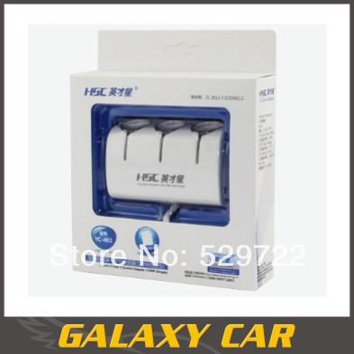 Hot Sale! 3 Way Car Cigarette Lighter Socket Splitter Charger USB With LED Light 12V/24V New -FreeShipping(China (Mainland))